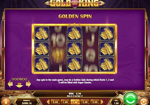 Игровые бонусы в Gold King онлайн